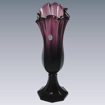 Fenton Aubergine Amethyst Swung Vase Limited Production Glass