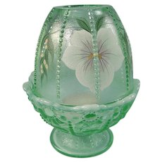 Fenton Glass Willow Green Fairy Light Hand Painted