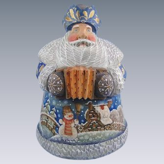 DeBrekht Masterpiece Santa Carved Wood Original Russian Accordion