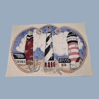 Lighthouses Tapestry Woven Fabric Pillow Panel Vintage