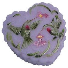 Fenton Hummingbird Trinket Box Lavender Satin Dichoic Glass