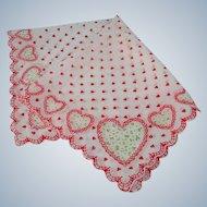 Vintage Handkerchiefs Cotton Red Hearts White Linen Hankie