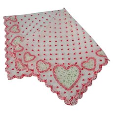 Vintage Handkerchiefs Cotton Red Hearts White Linen Hankie