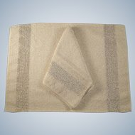 Set of Four Placemats with Napkins Ivory and Gold Weave