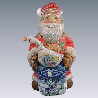 G. DeBrekht Santa Goose Surprise Box Russian Folk Art