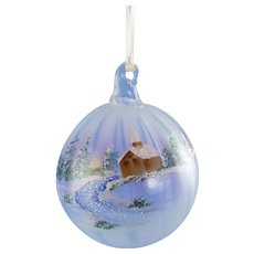 Fenton Glass Winter Aura Ornament French Opalescent