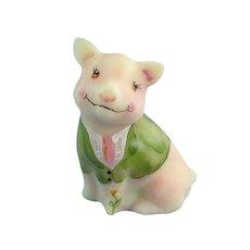 Fenton Glass Burmese Happy Pig Hand Painted
