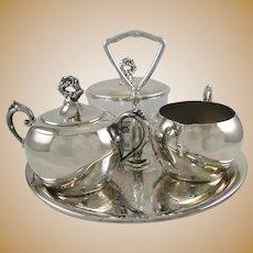 Vintage Silverplate Tray Creamer Sugar Tea Set