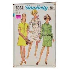 Simplicity 8084 Misses Shirt Dress Vintage 1960s Size 12