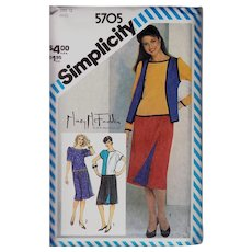 Simplicity Pattern 5705 Mary McFadden Uncut Vintage Skirt Top Vest Rare