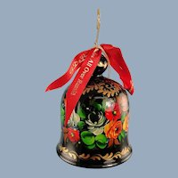 DeBrekht Wooden Bell Ornament Floral Zhostovo Russian Painting