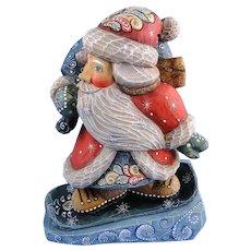 G. DeBrekht Santa on Snowboard Box Downslope Russian Folk Art