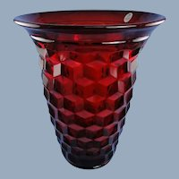 Fenton Glass Ruby American Vase Fostoria Mould