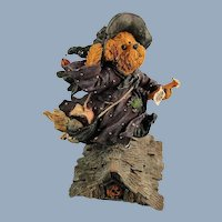 Boyds Bearstone Halloween Witch Griselda Broomster Midnight Flight