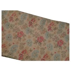 Beige Floral Printed Linen Vintage 3 Yards Plus