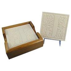 White Initial J Stone Coasters Set with Wood Holder