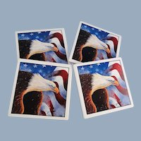 Eagle American Flag Coasters Set with Wood Holder D. Morgan