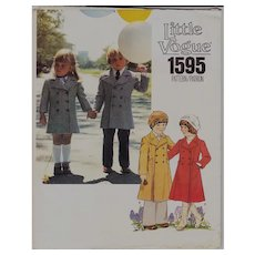 Vintage Vogue Pattern Child's Coat 1595 Classic for Girls or Boys 1970s