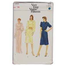 Vogue Pattern Misses 7717 Dress in Two Lengths Vintage