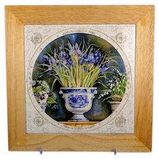 Ceramic Tile Trivet Wood Frame Iris Design Vintage