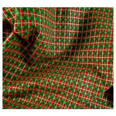 Vintage Christmas Plaid Cotton Fabric 3 Yards Red Green