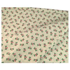 Vintage Christmas Holly Cotton Fabric 4 Yards Red Green