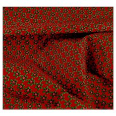 Christmas Holly Dark Red Cotton Fabric Vintage