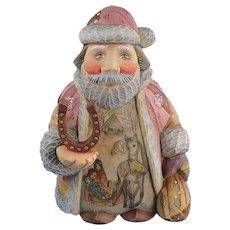 DeBrekht Santa Horseshoe Lucky Travels Russian Folk Art Figurine