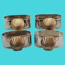 Four Silverplate Napkin Rings Brass Seashell Decoration Vintage