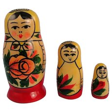 Vintage Russian Wooden Three Nested Dolls Matryoshka
