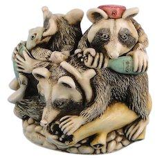Harmony Kingdom Rocky's Raiders Raccoons Treasure Jest Box