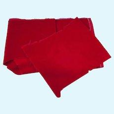Vintage Fabric Red Velvet Velveteen for Doll Clothes