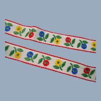 Floral Embroidered Trim Vintage Red Blue Yellow