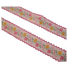 Floral Braid Trim Vintage Pink Yellow
