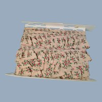 Holly Christmas Cotton Ruffled Trim Vintage