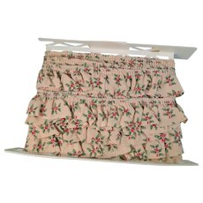 Holly Christmas Cotton Ruffled Trim Vintage
