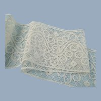 Wide White Lace Vintage Scroll Design