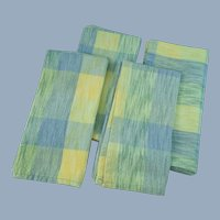 Set 4 Plaid Cloth Napkins Vintage 1980s