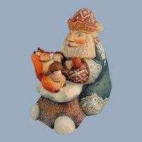 G. DeBrekht Santa with Squirrel Box Russian Folk Art