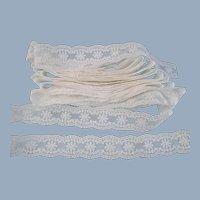 White Lace Scalloped Edges Vintage 6 Yards Plus