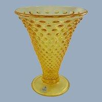 Fenton Glass Hobnail Vase Buttercup Yellow