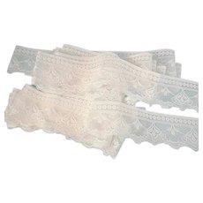 White Lace Scalloped Edge Vintage 6 Yards Plus
