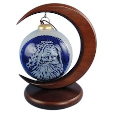 Rowe Pottery Santa Ornament with Wood Stand Vintage