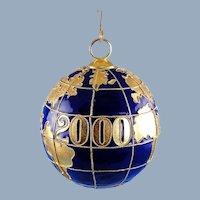 Cloisonne Millennium Globe 2000 Ornament Christmas Decor