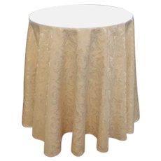 Round Ivory Tablecloth Jacquard Damask Vintage