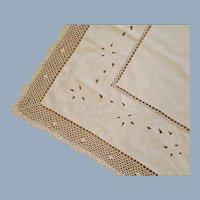 Square Ecru Tablecloth Crochet Trim Vintage Linen