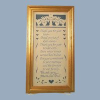 Framed Poem Scherenschnitte Mom and Dad Thank You