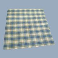 Plaid Cotton Tablecloth Blue White Yellow Vintage