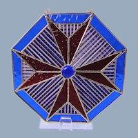 Americana Glass Sun Catcher Patchwork Design Red White Blue Suncatcher
