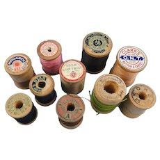 Ten Vintage Wooden Spools Thread Clarks, Coats, Corticelli